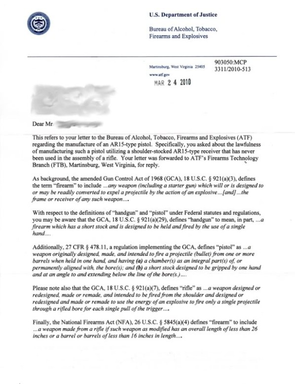 ATF Letter on Lower Receiver as Rifle